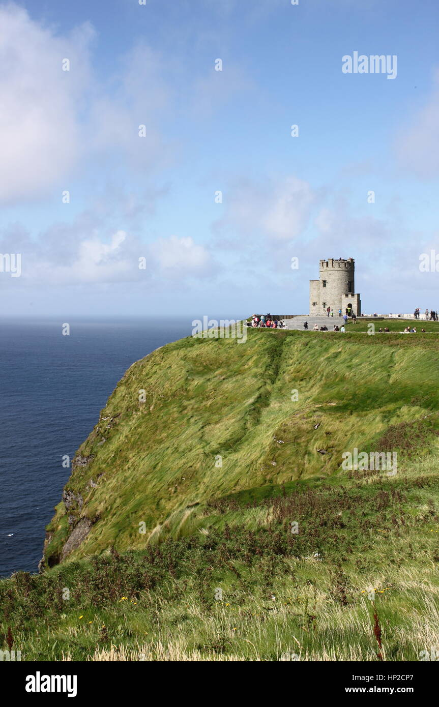 Cliffs of Moher and O`Brien`s Tower. County Clare, Ireland - Stock Image