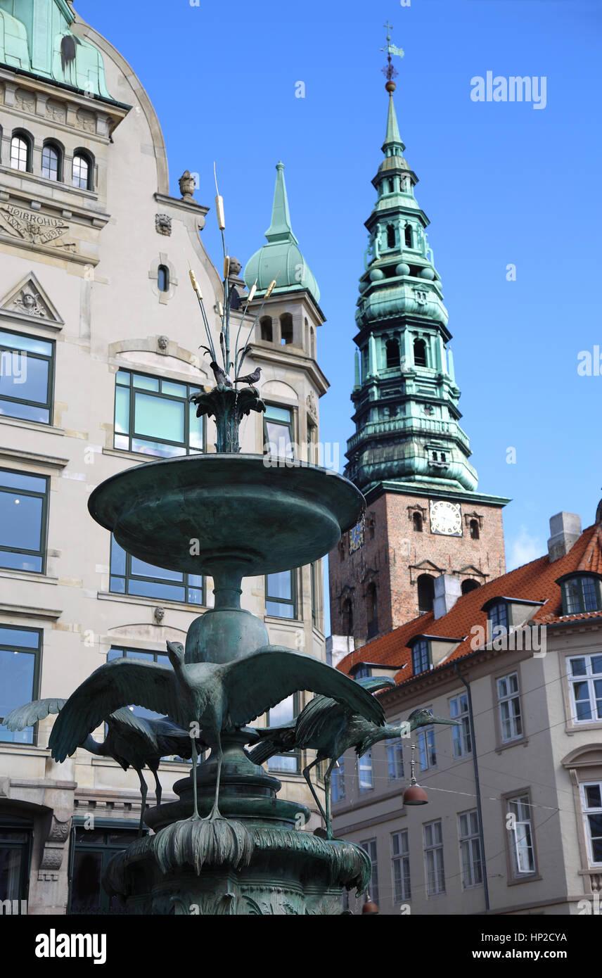 Amagertorv, central pedestrian area in Storkespringvandet, Copenhagen, Denmark - Stock Image