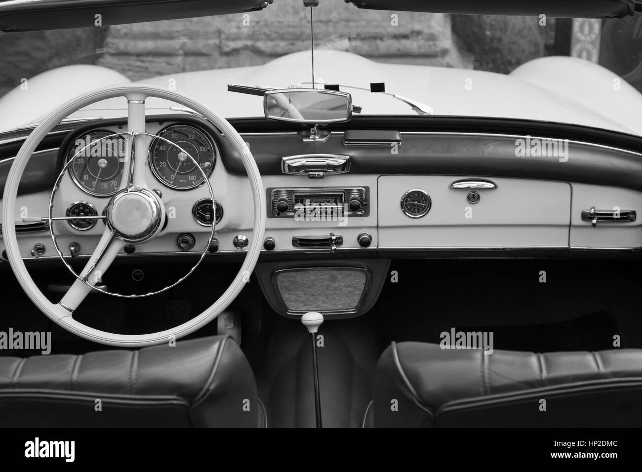 Black and white interior of a classic car convertible - Stock Image