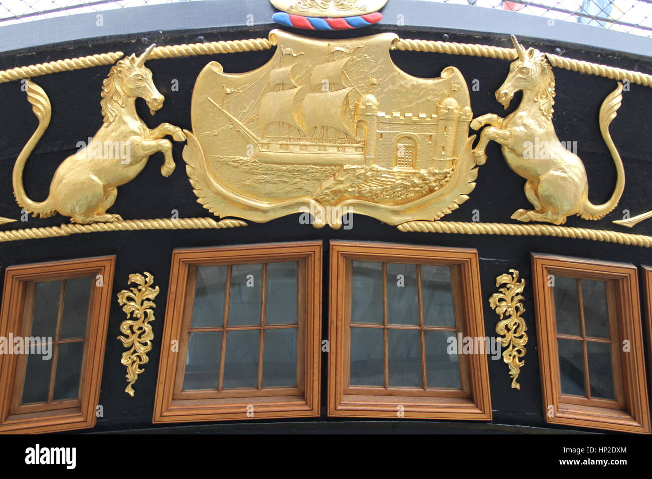 Detail from the stern of Brunel's passenger steamship SS Great Britain, Bristol. - Stock Image
