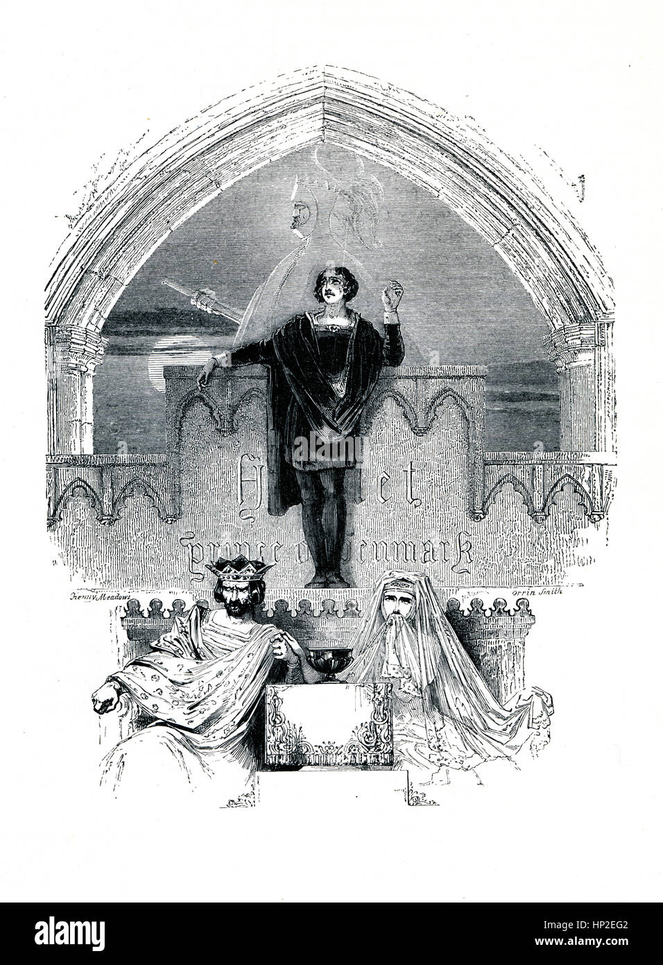 Hamlet, Victorian book frontispiece for the play by William Shakespeare from the 1849 illustrated book Heroines - Stock Image