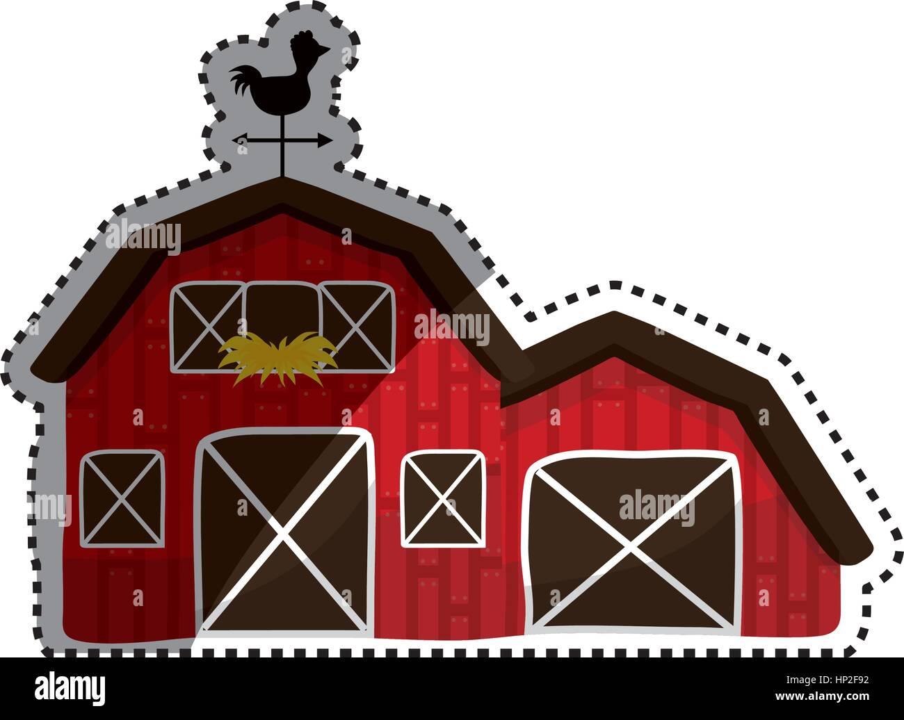 Farm Barn Building Icon Vector Illustration Graphic Design