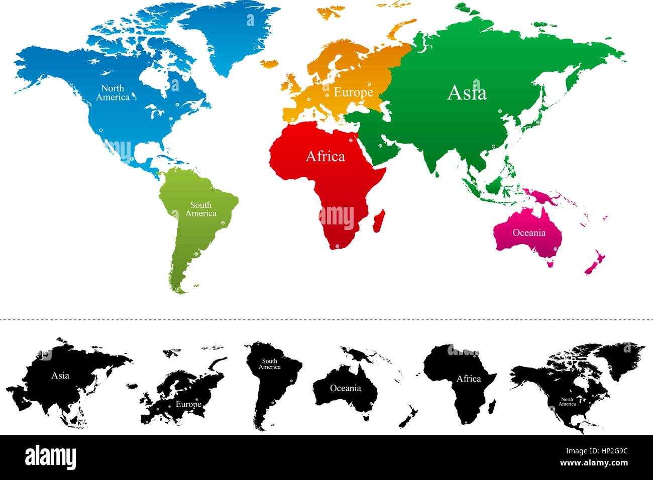 Vector world map with colorful continents atlas eps stock vector vector world map with colorful continents atlas eps gumiabroncs Images