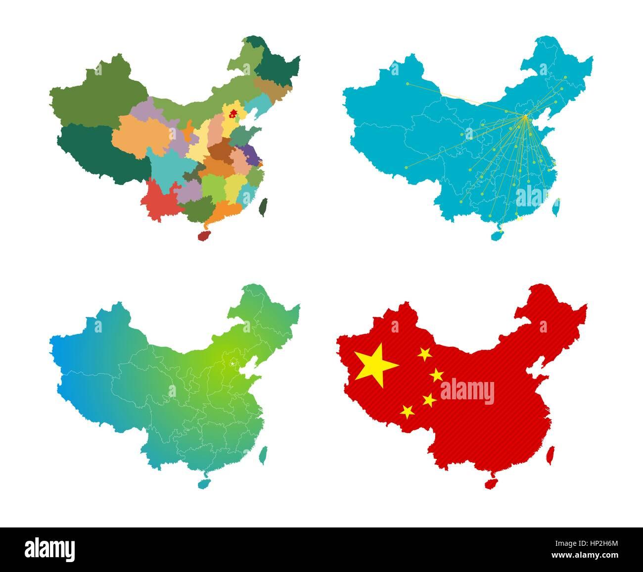 Vector China map set - Stock Image