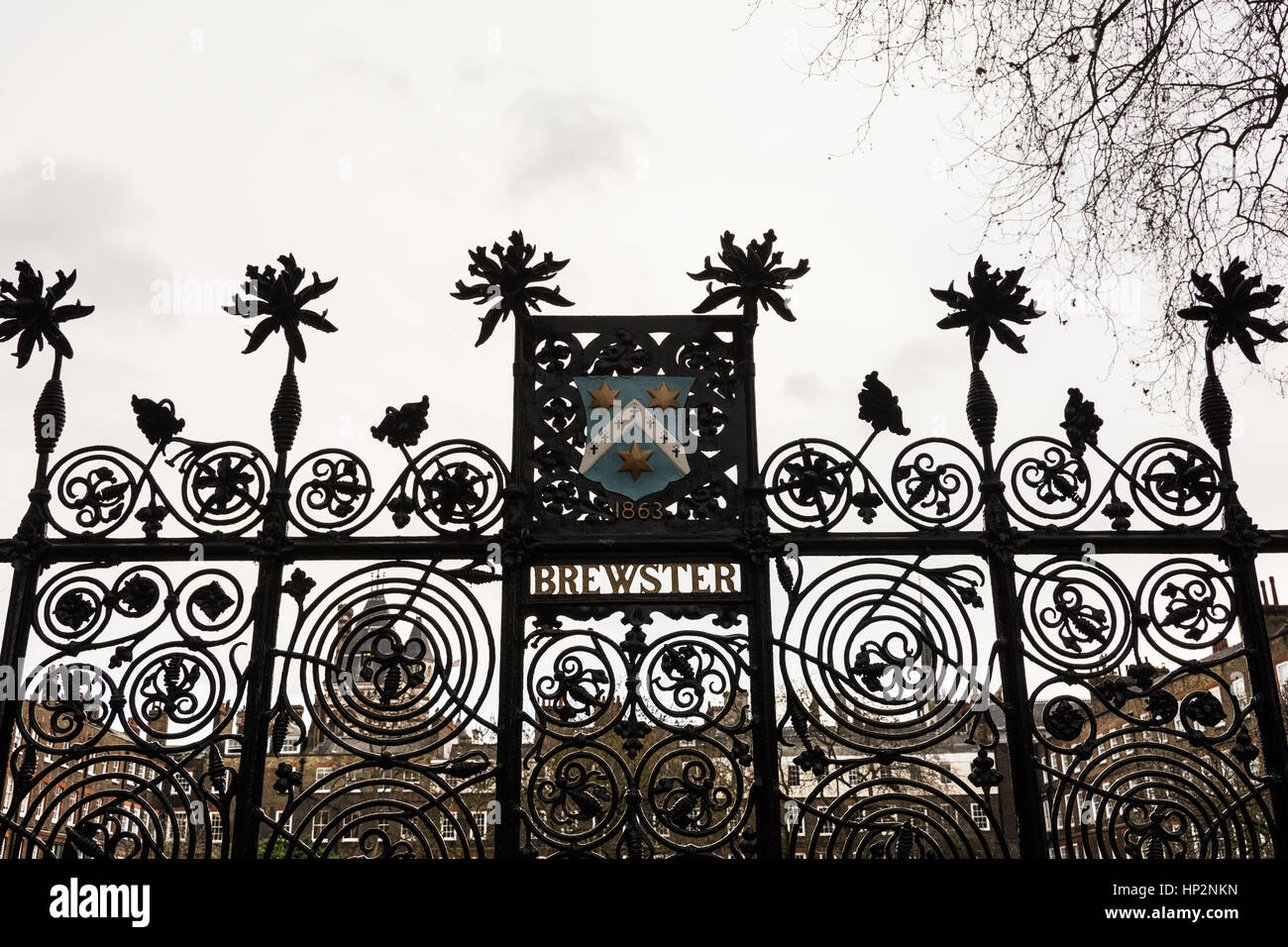 Railing in Lincoln's Inn, Holborn, London Borough of Camden, Greater London, England, United Kingdom - Stock Image