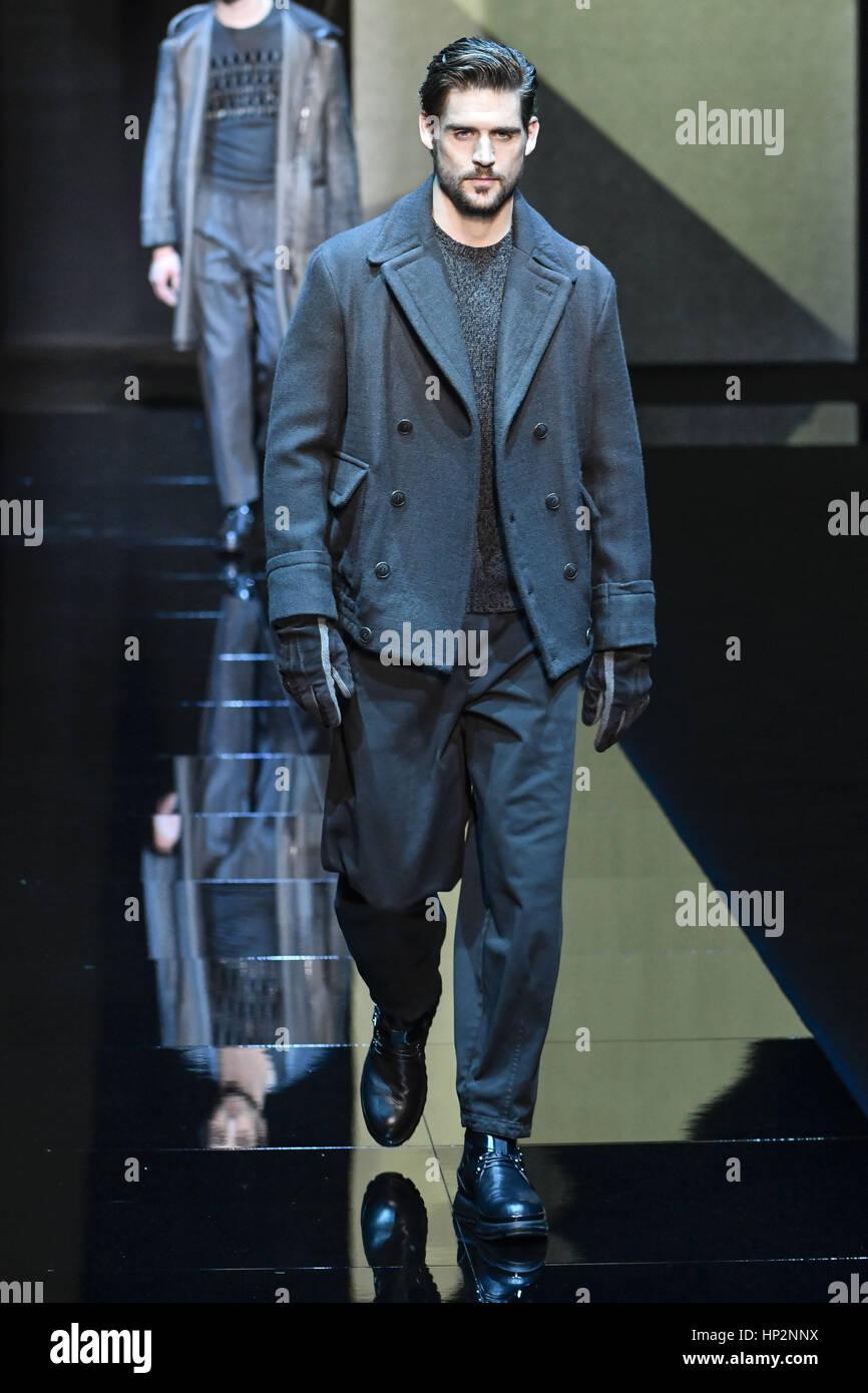 ccee8e60417 Milan Fashion Week Men s - Giorgio Armani - Catwalk Featuring  Model Where   Milan