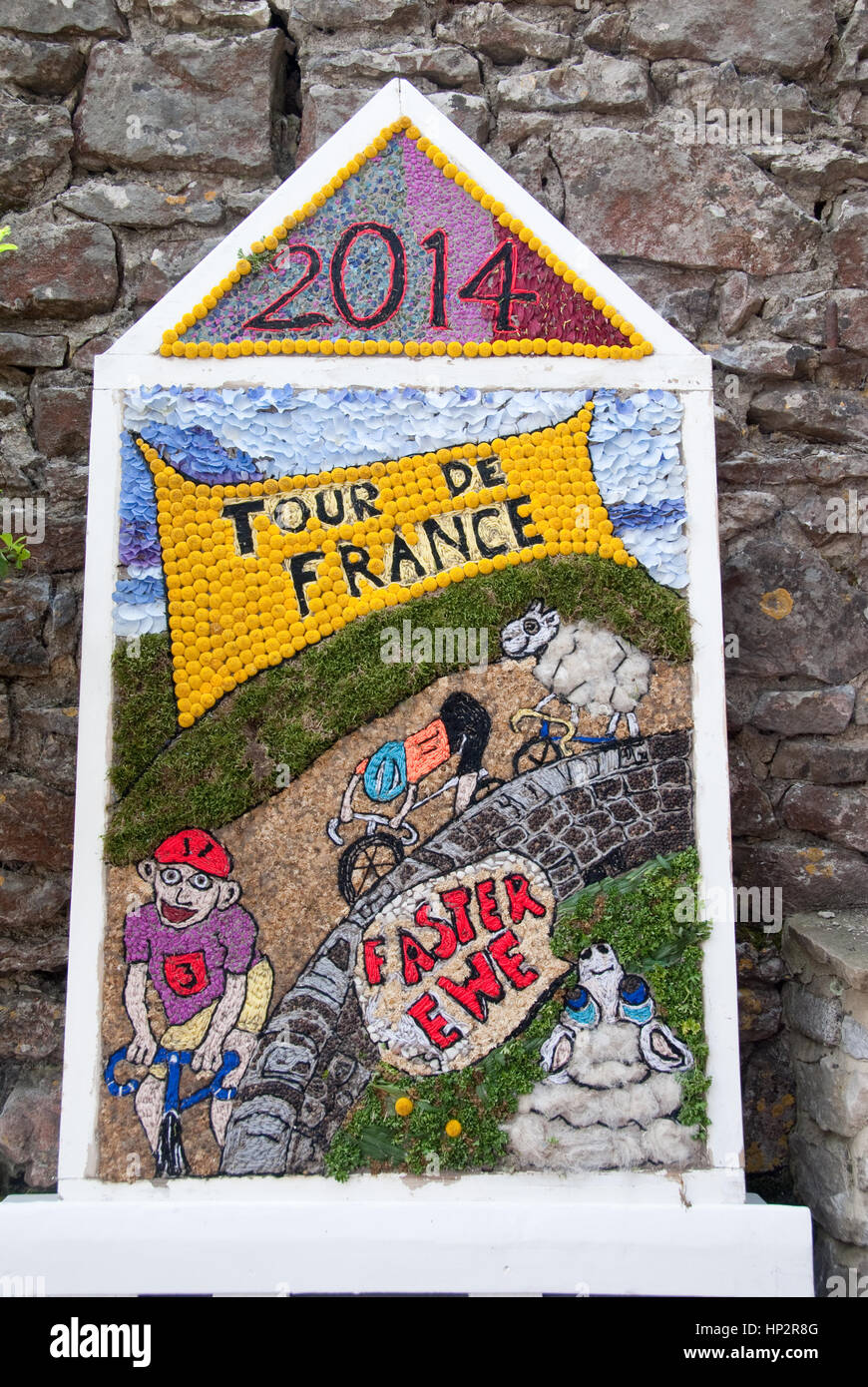 Derbyshire, UK - July 20 2014 - Well dressing celebrating Le Tour de France in Yorkshire on 20 July at Little Longstone, - Stock Image