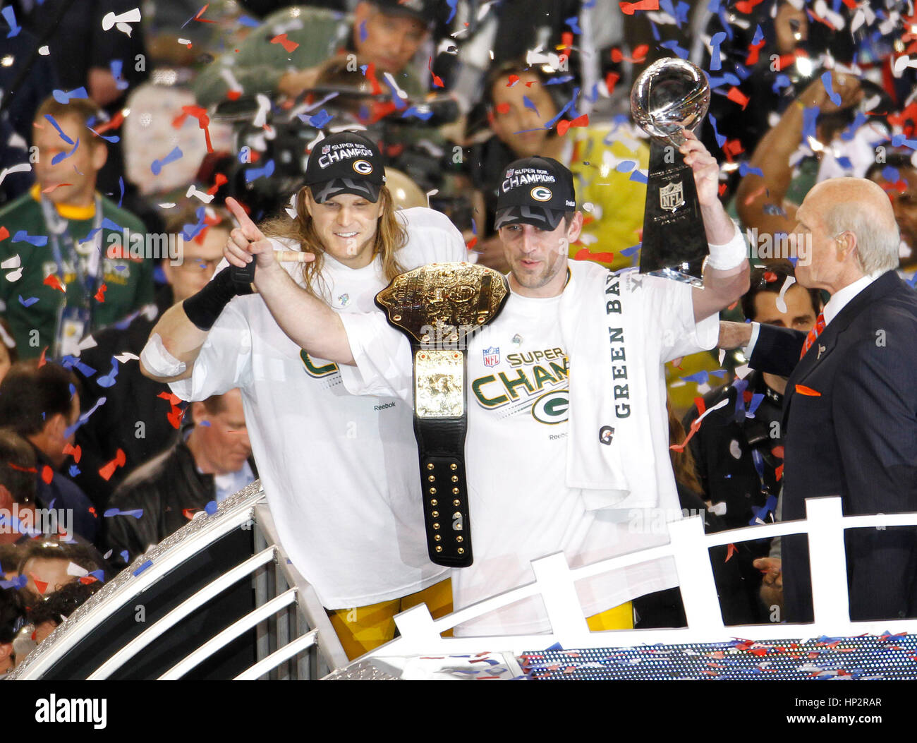 Green Bay Packers Quarterback Aaron Rodgers R And Linebacker Clay Matthews Celebrate With The Vince Lombardi Trophy After Defeating Pittsburgh