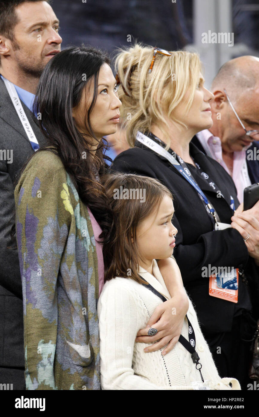 Wendi Murdoch with her daughter, Grace, at Super Bowl XLV football game in Arlington, Texas on February 6, 2011. - Stock Image