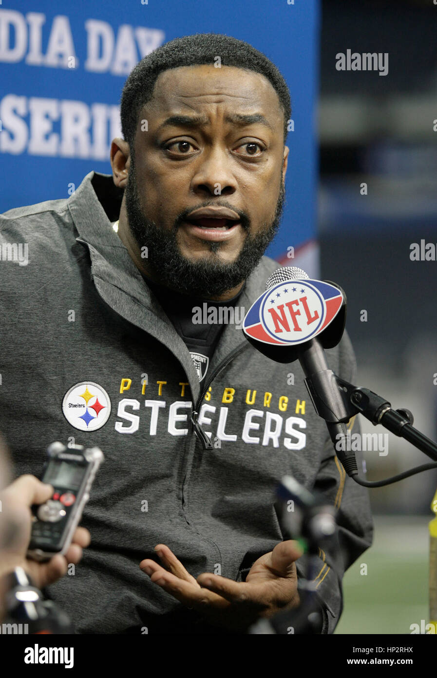 fb0b9beff Pittsburgh Steelers head coach Mike Tomlin at Super Bowl Media Day in  Cowboys Stadium on February 1