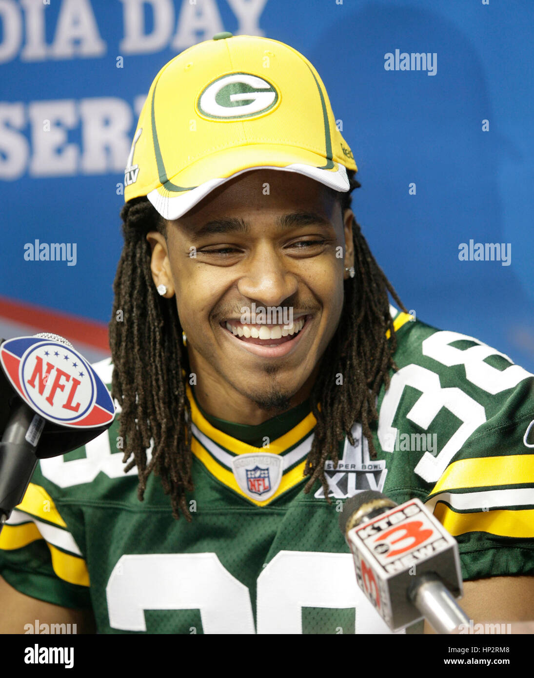 Green Bay Packers  Tramon Williams at Super Bowl Media Day in Cowboys  Stadium on February bc7224b1d