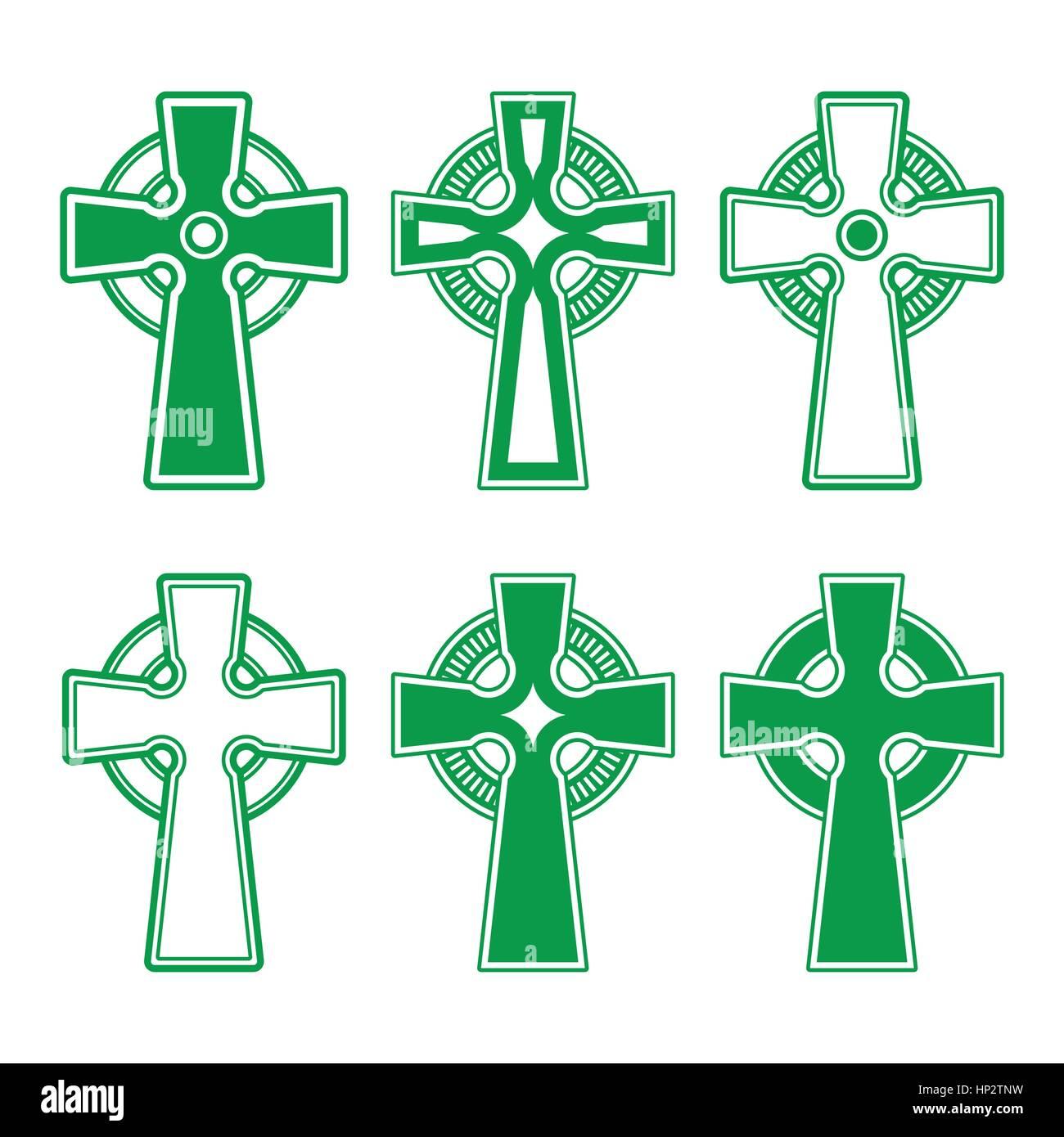 Irish Scottish Celtic Green Cross On White Vector Celtic Crosses