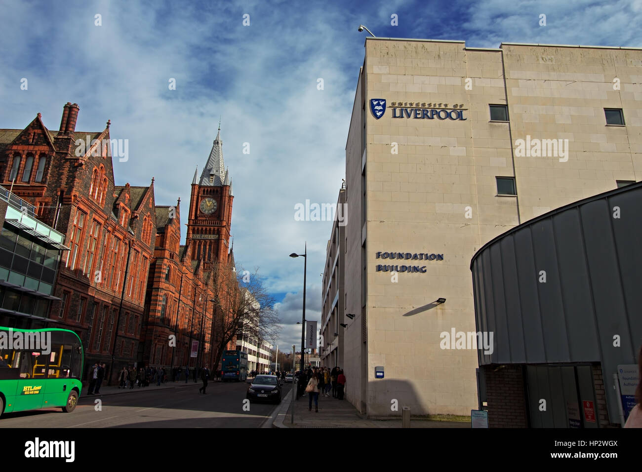 The Victoria Building of the University of Liverpool, is on the corner of Brownlow Hill and Ashton Street, Liverpool, - Stock Image
