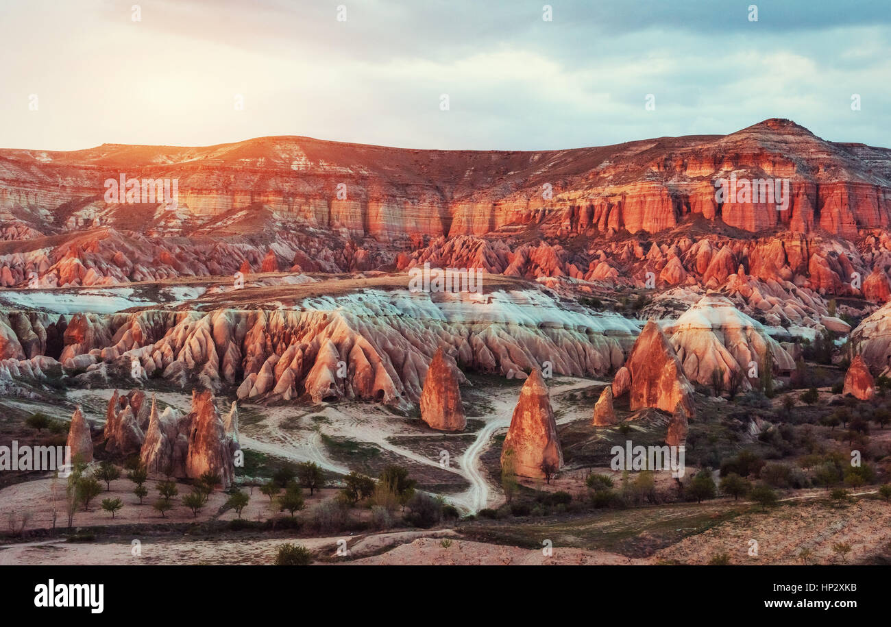 Panorama of unique geological formations in Cappadocia, Turkey. - Stock Image