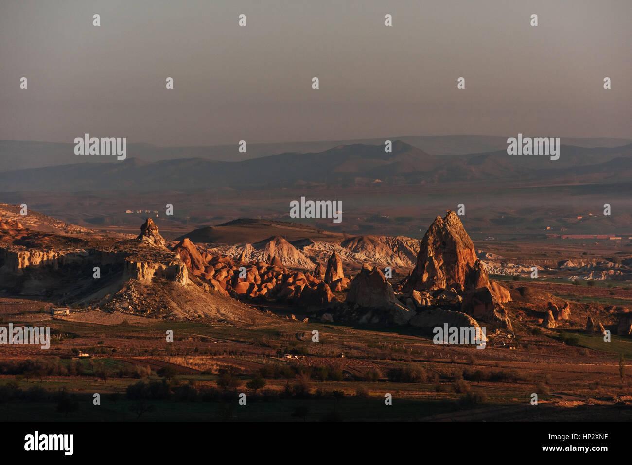 Beautiful geological formations, Cappadocia, Turkey - Stock Image
