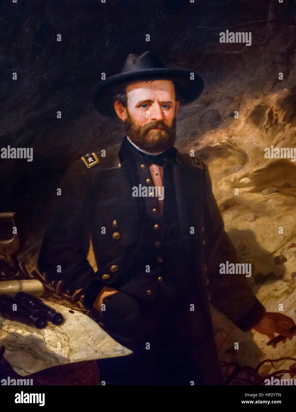 Ulysses S Grant (1822-1885), portrait of the Union Army General and 18th US President by Ole Peter Hansen Balling, - Stock Image