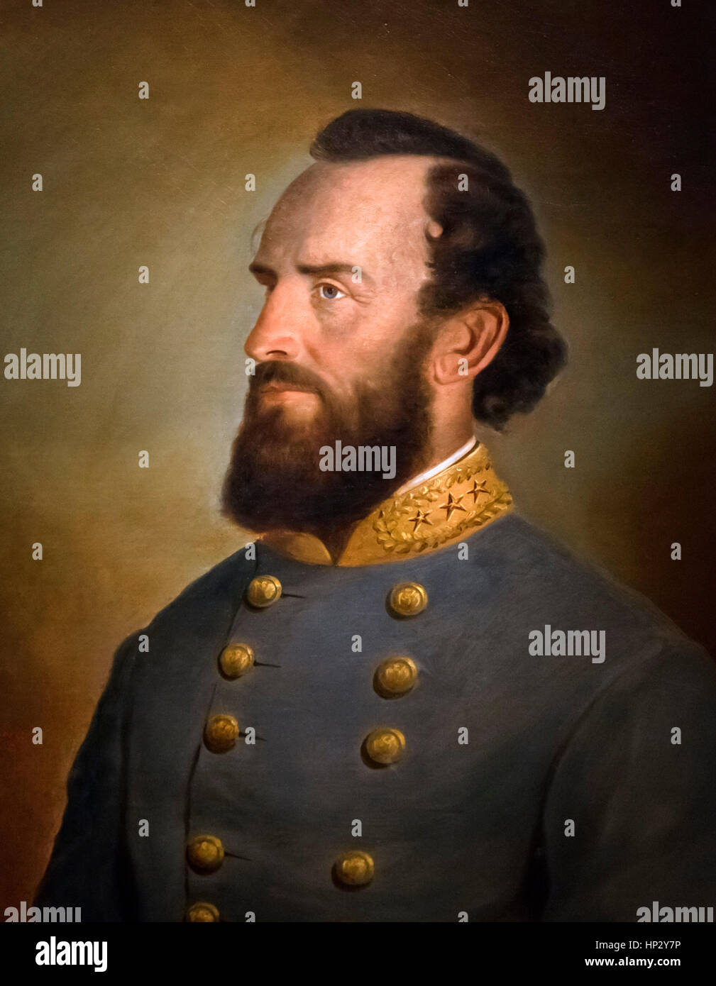 Stonewall Jackson. Portrait of the Confederate Army General Thomas Jonathan 'Stonewall' Jackson (1824-1863) - Stock Image