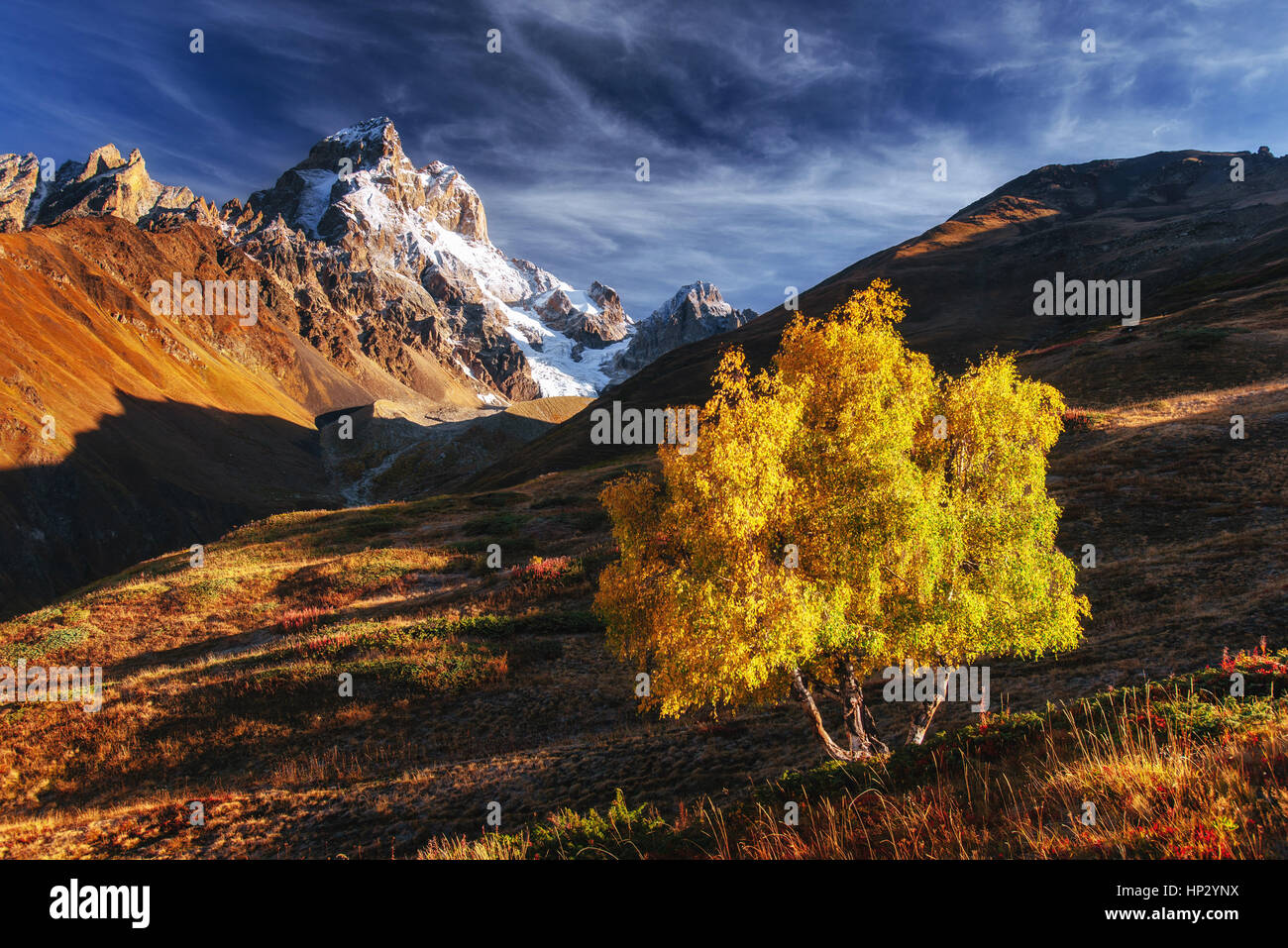 Autumn landscape and snowy peaks in the sun. - Stock Image