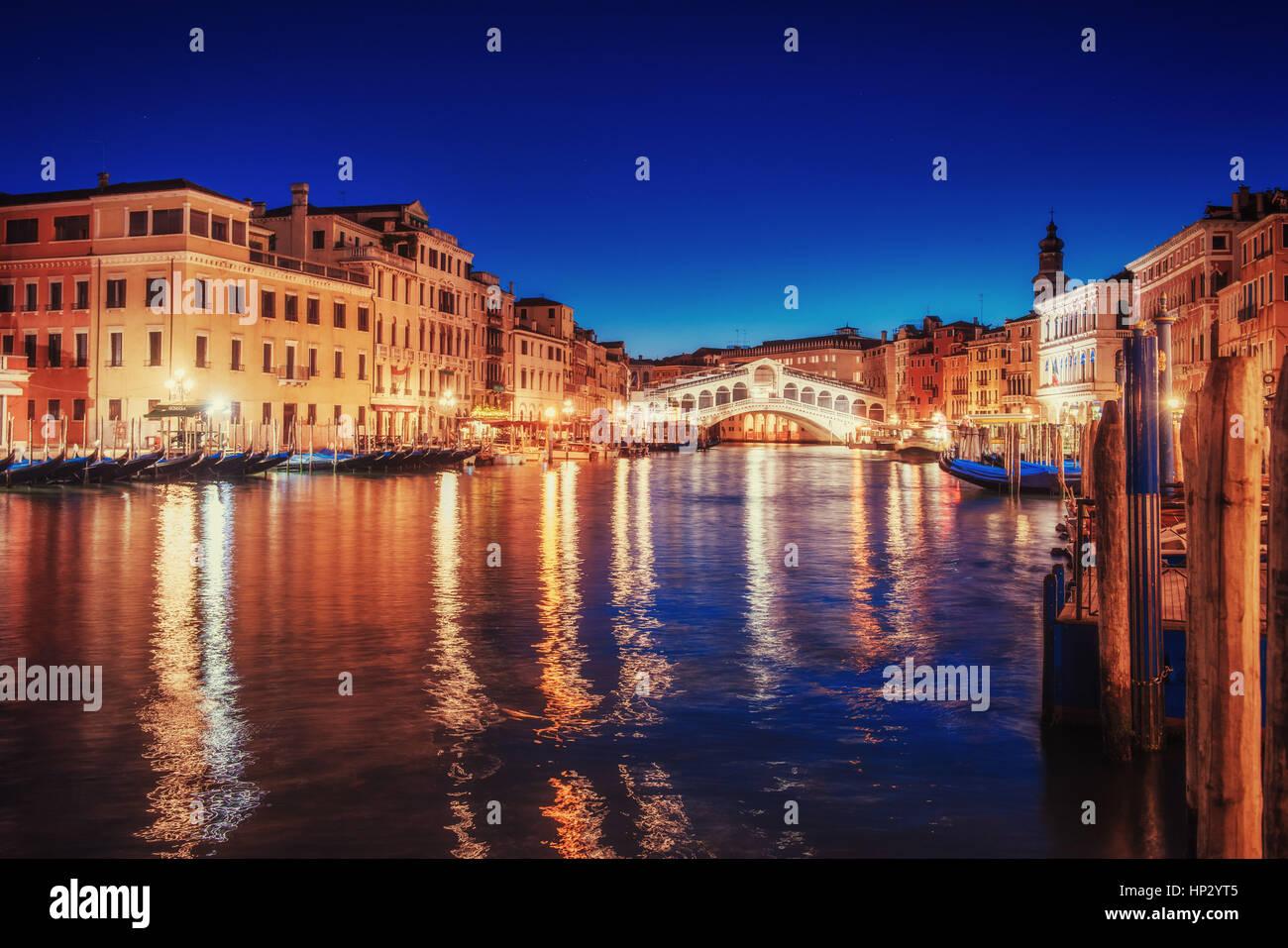 City landscape. Rialto Bridge in Venice, Italy - Stock Image
