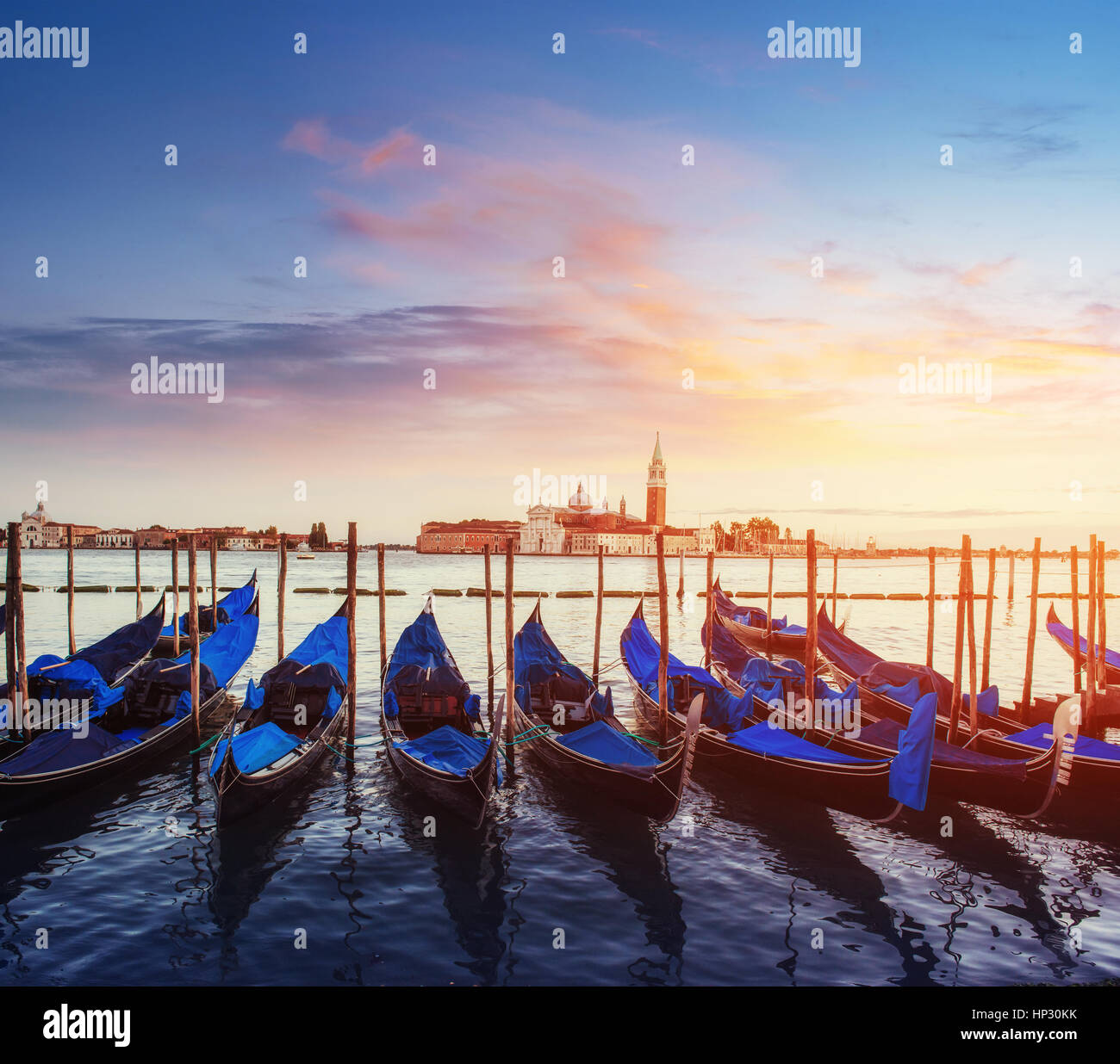 City landscape. Fantastic views of the gondola at sunset - Stock Image