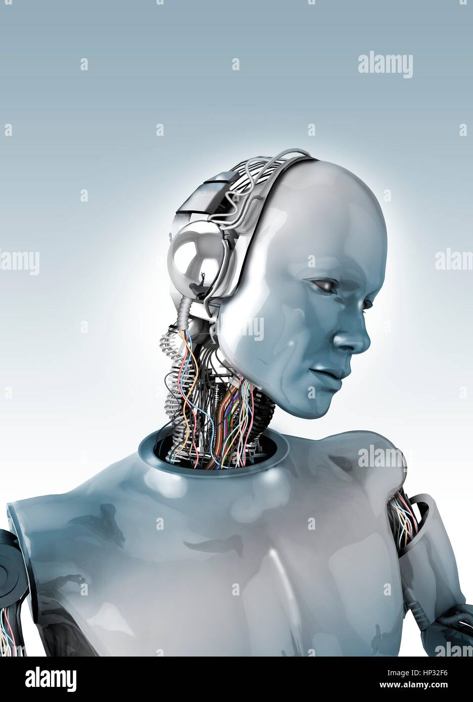 Robot with wires in neck, illustration Stock Photo: 134062858 - Alamy