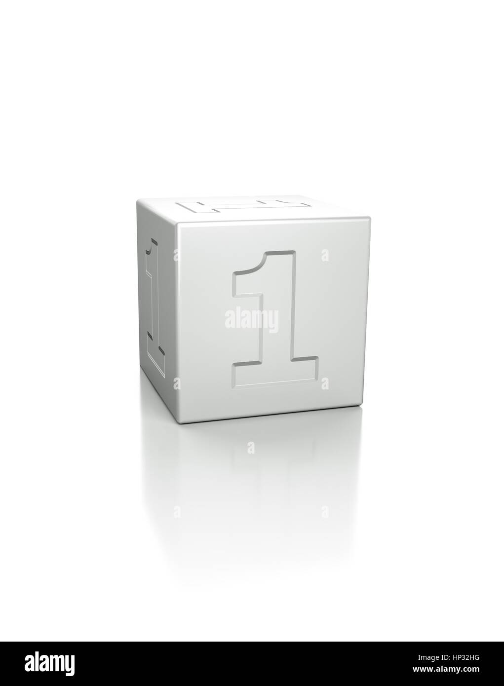 Cube with the number 1 embossed. - Stock Image