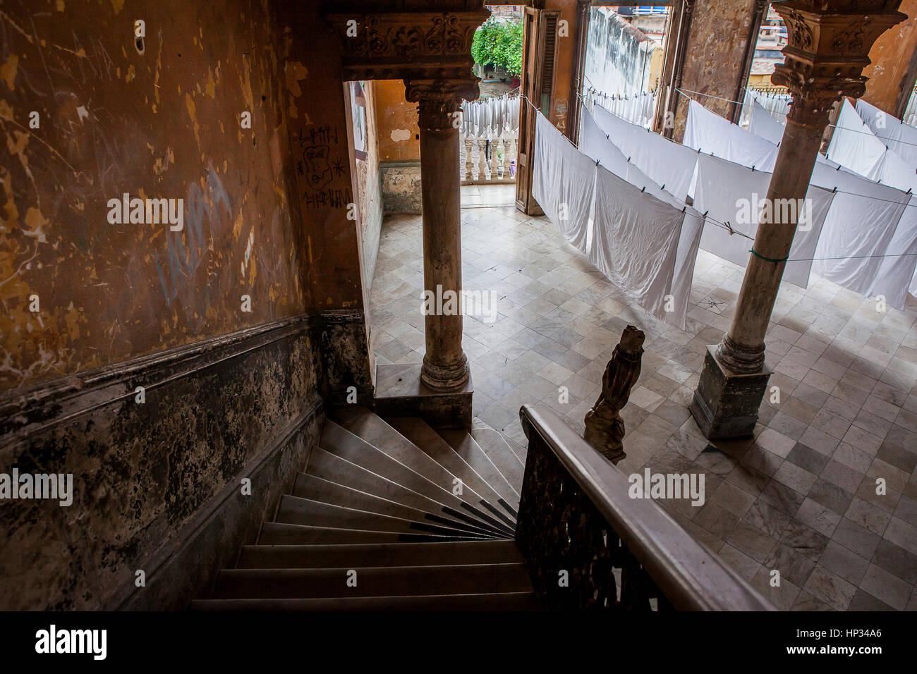 Entrance to the restaurant Paladar La Guarida, Centro Habana district, Cuba - Stock Image