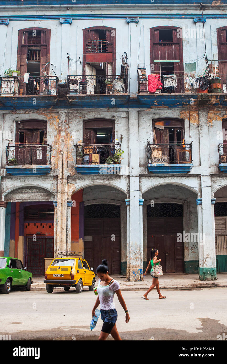 Architecture, classical, typical, traditional, colonial, in Teniente Rey street, La Habana Vieja district, La Habana, - Stock Image