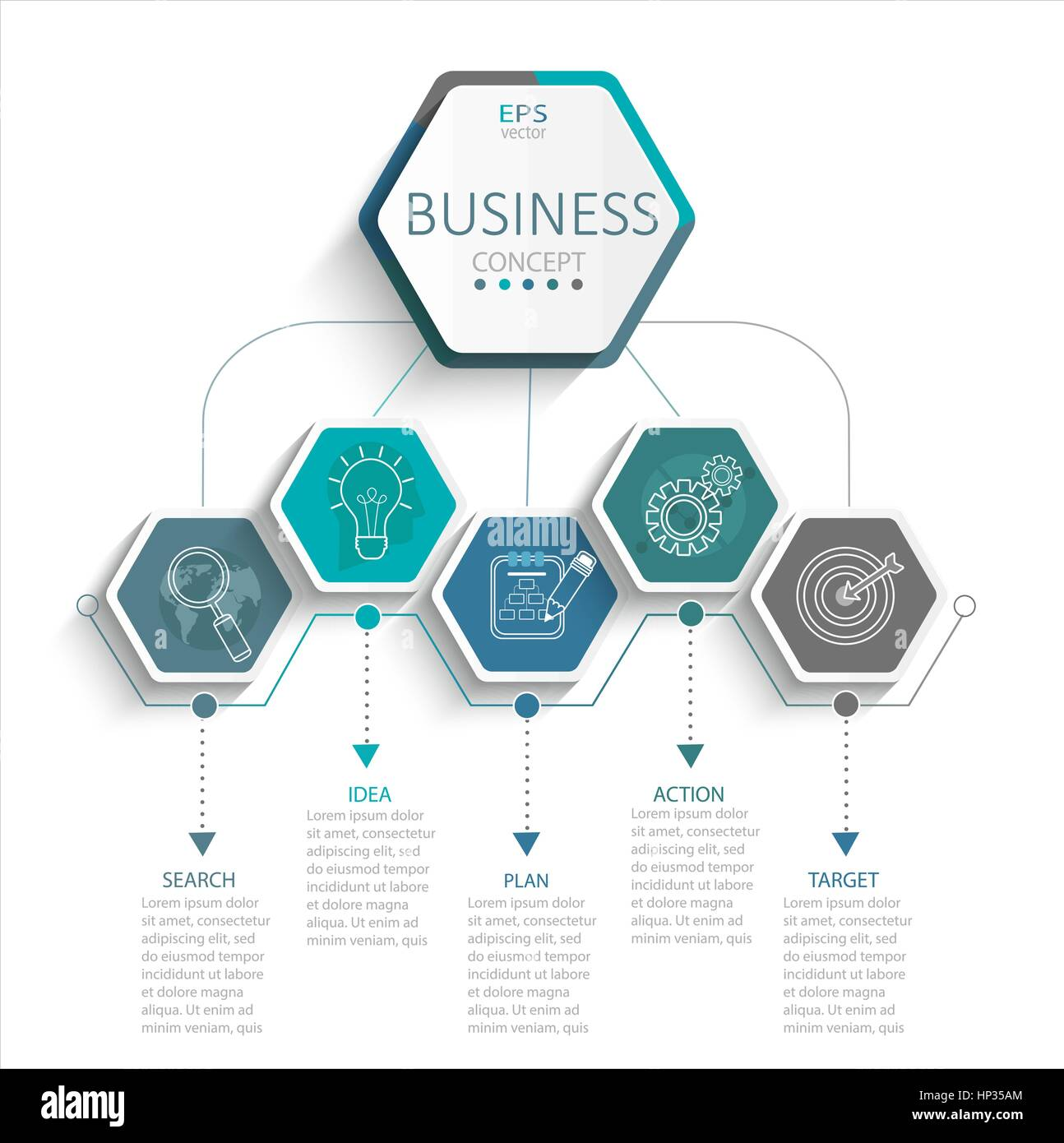 Vector Illustration Infographic Template With 3D Hexagons Paper Label Business For Presentation Creative