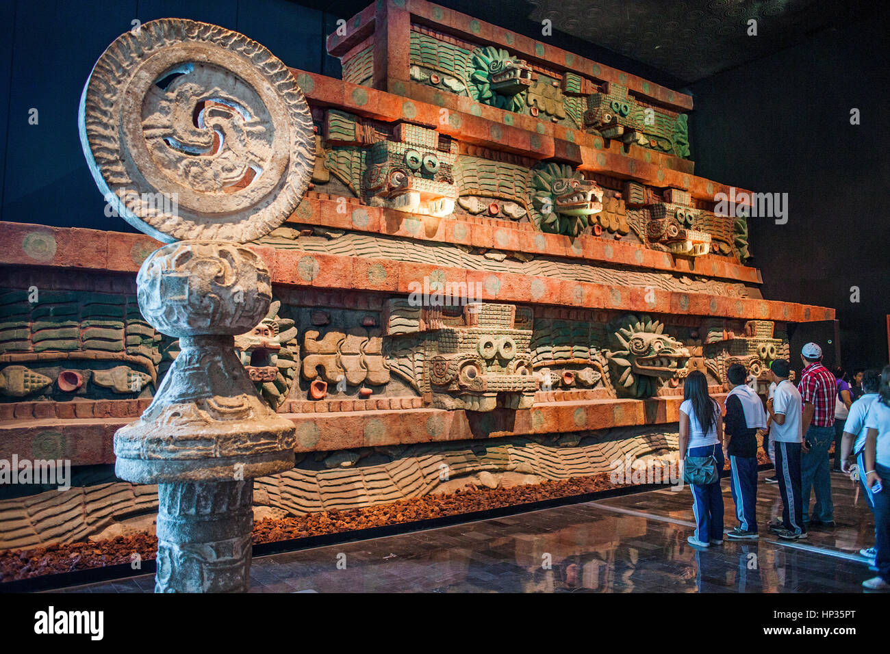 Replica, `Piramide de la serpiente emplumada´, Pyramid of the Feathered Serpent, or snake,from Teotihuacan, - Stock Image