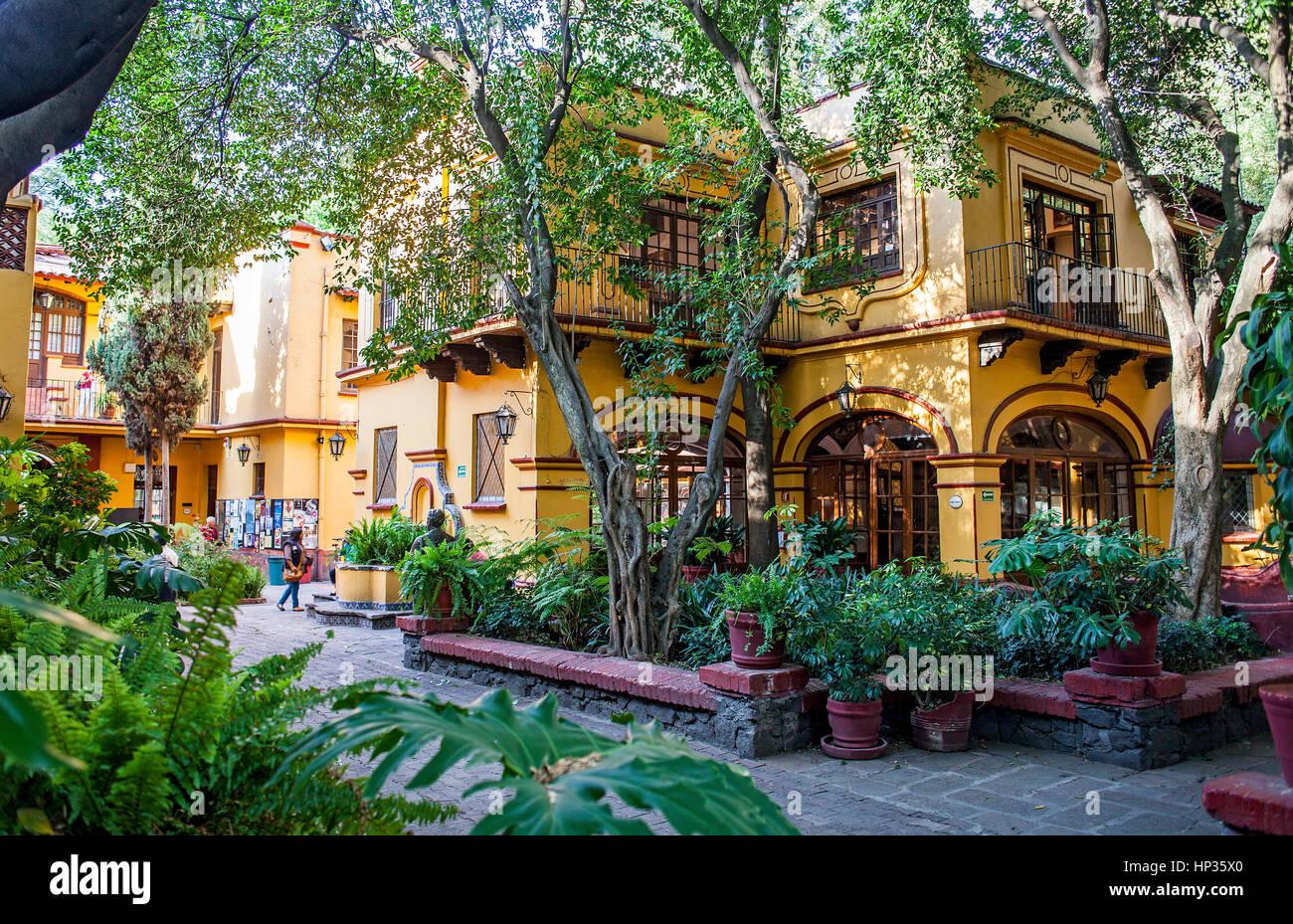 Casa de Cultura Jesus Reyes Heroles,Typical, architecture, Avenida Francisco Sosa, Coyoacan, Mexico City, Mexico - Stock Image