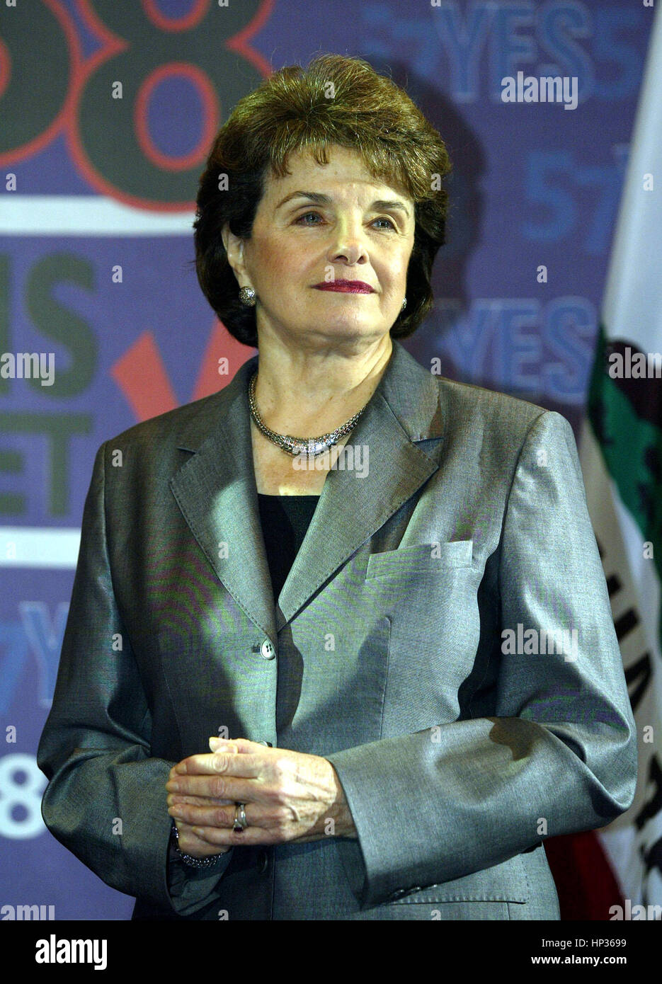 US Sen. Dianne Feinstein  at a press conference to endorse California Proposition 57 and 58 at the Fairmont Miramar - Stock Image