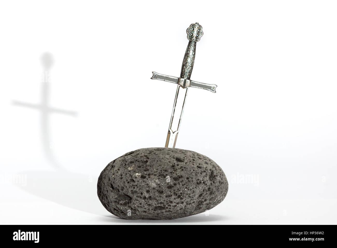 King Arthur sword in stone - Stock Image