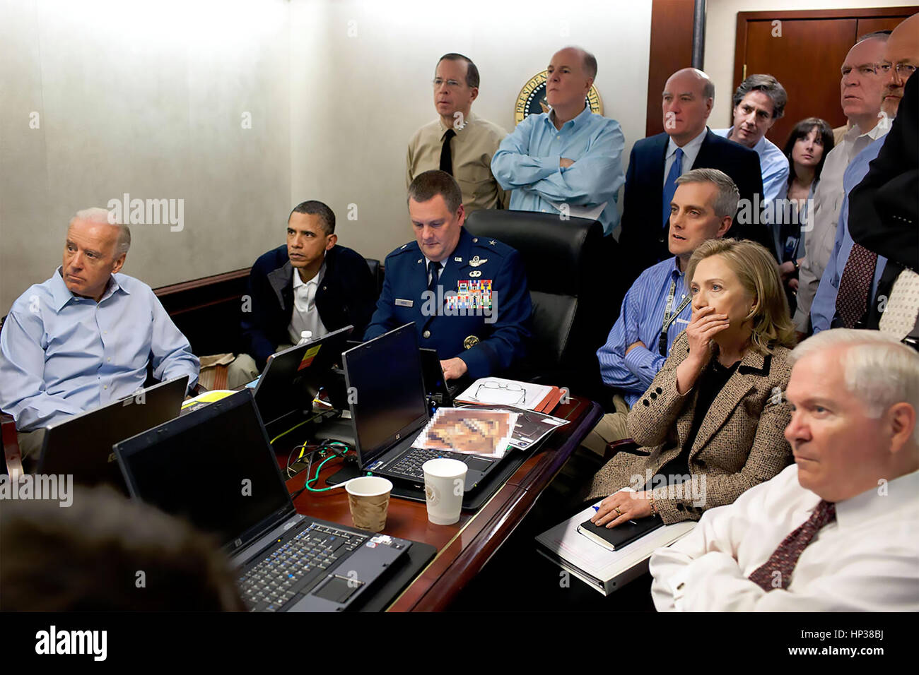 THE SITUATION ROOM  White House photographer Pete Souza's photo of the moment President Obama and his team watched - Stock Image