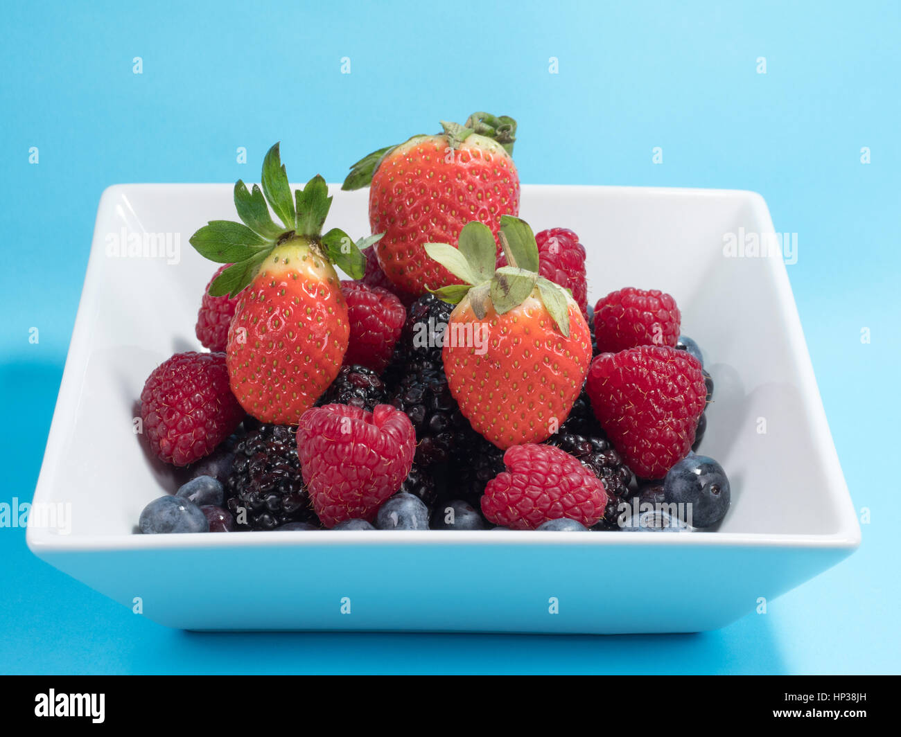 Mixed winter fruit of blueberries, raspberries, blackberrys and stawberries in a white bowl on a blue background - Stock Image