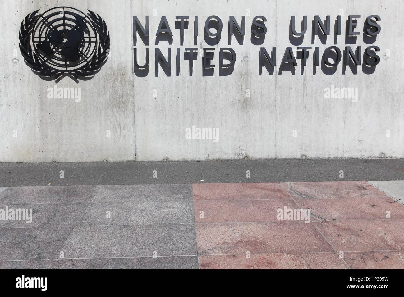 Geneva, Switzerland - August 14, 2016:  United Nations sign on a wall in Geneva, Switzerland - Stock Image