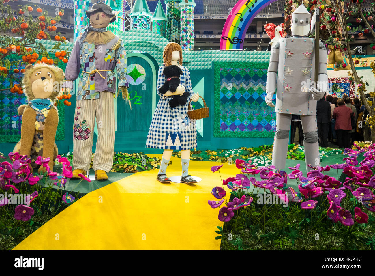 3D quilt exhibition of the 'Wonderful Wizard of Oz' by Reiko Washizawa at the 2017 Tokyo International Great - Stock Image