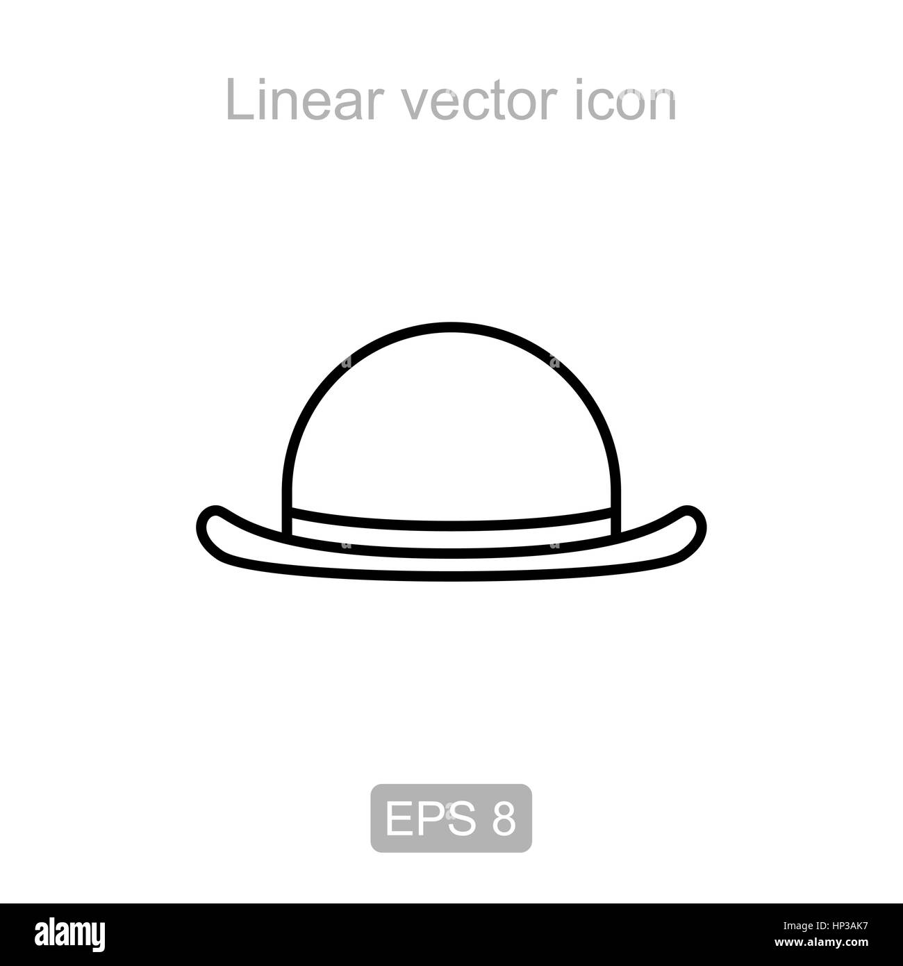 Icon of the headdress bowler in a linear style - Stock Image