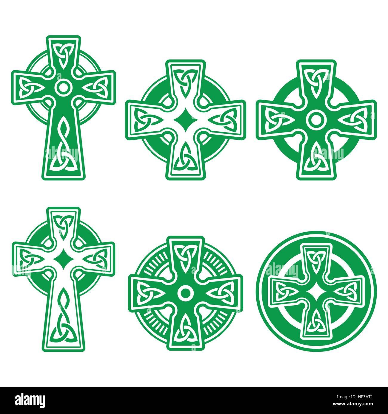 Irish Scottish Celtic Green Cross On White Vector Sign Celtic