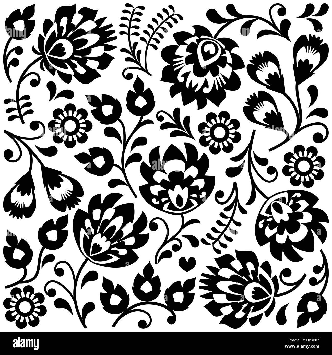 Polish folk art black pattern - Wzory Lowickie, Wycinanki. Traditional monochrome background - Slavic cutout style - Stock Image