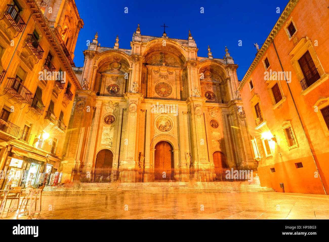 Facade of the renaissance cathedral, Granada, Andalusia Spain Stock Photo