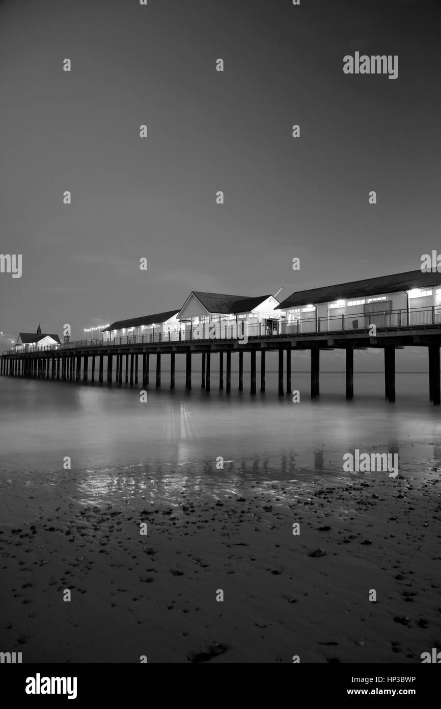 Dusk; Southwold Pier; Southwold town; Suffolk county; England - Stock Image