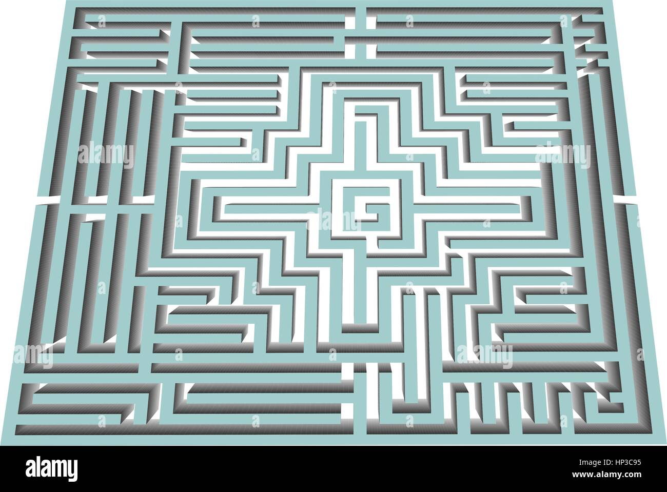 vector black and white Illustration of a maze and labyrinth - Stock Image