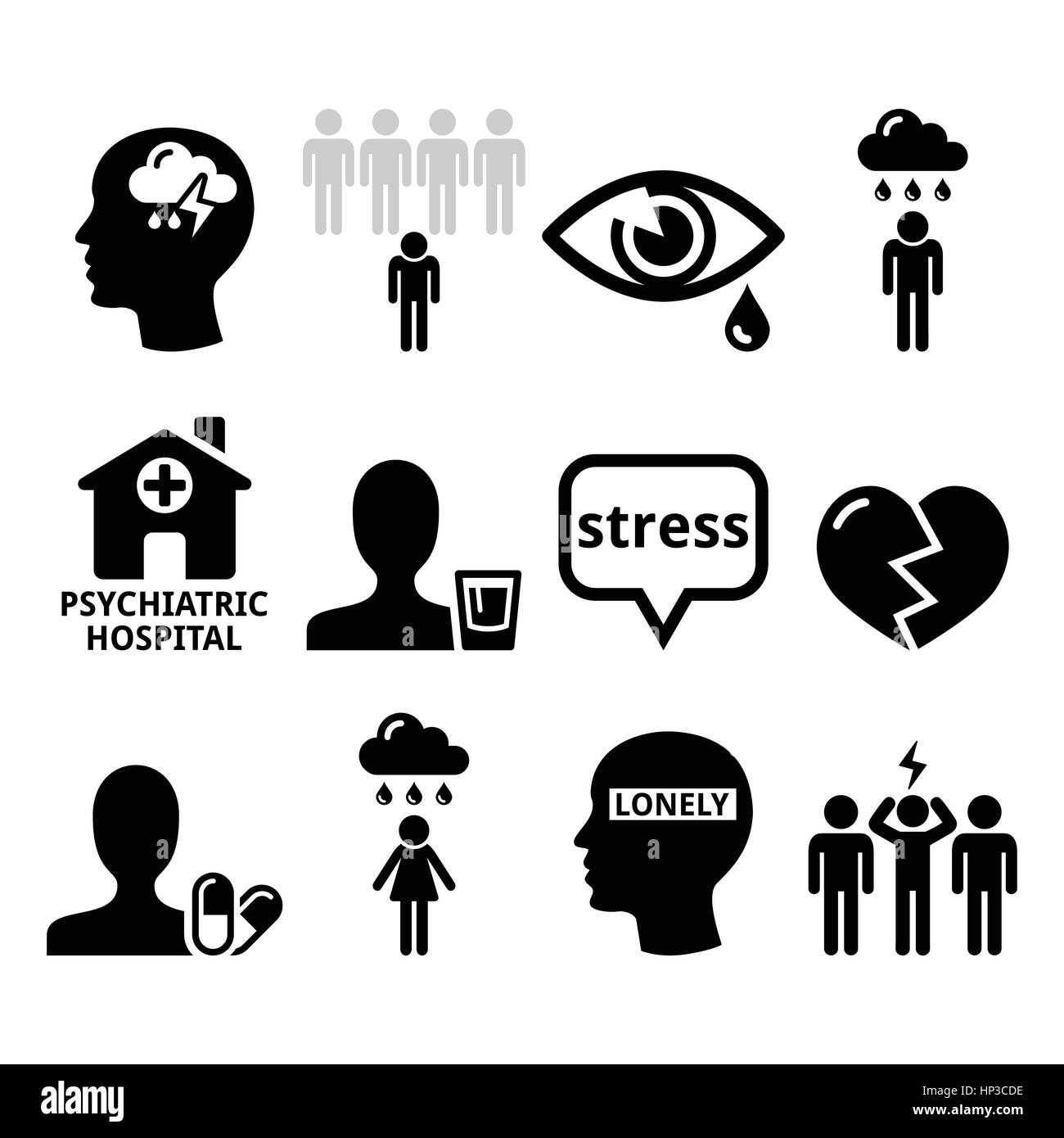 Mental health icons - depression, addiction, loneliness concept. Vector icons set - mental health isolated on white - Stock Vector
