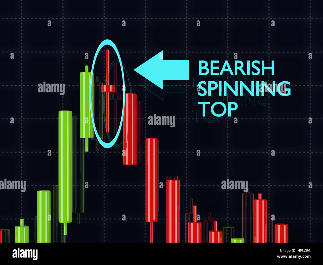 3d rendering of forex bearish spinning top candlestick  pattern over dark background - Stock Image