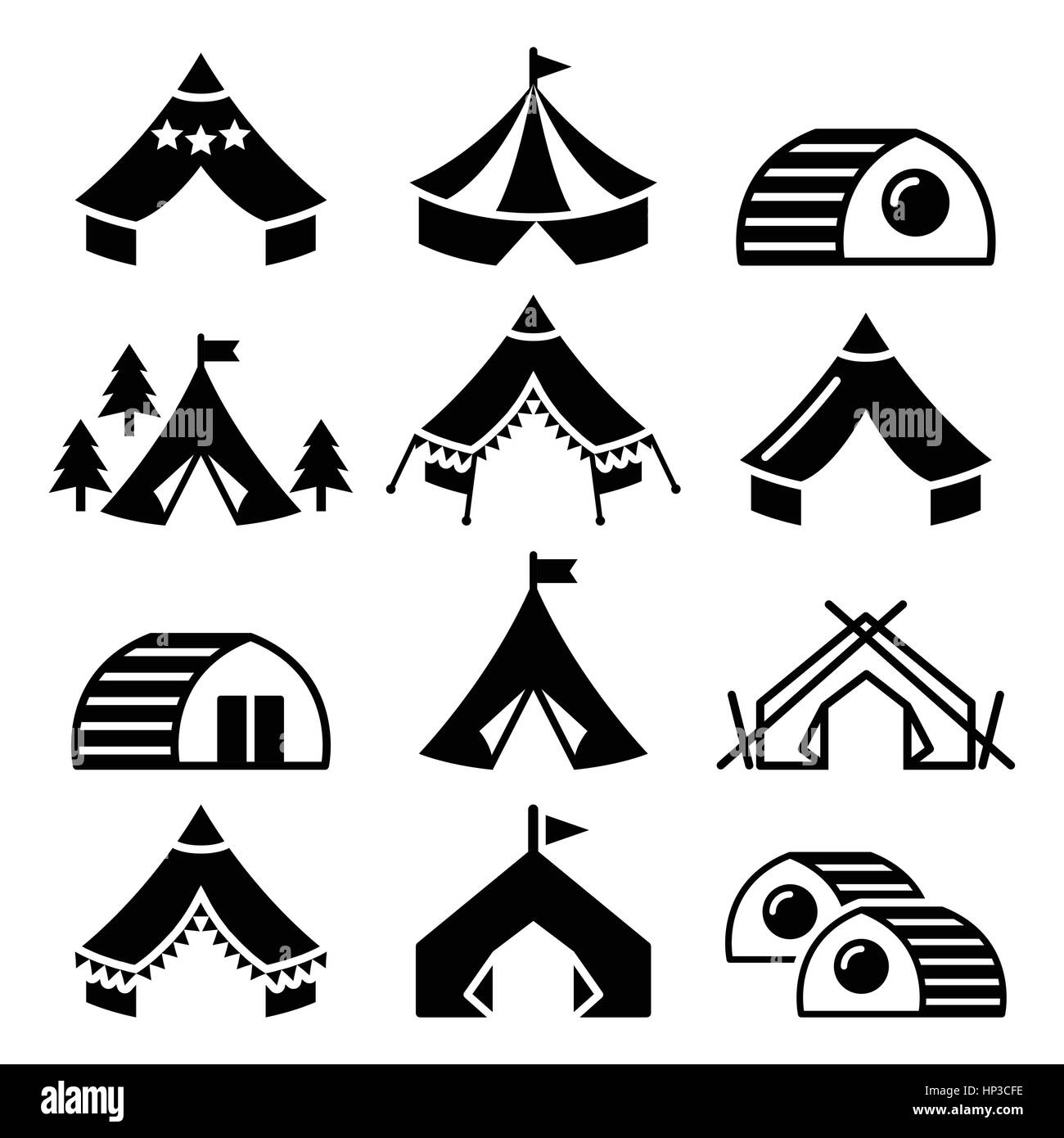 Glamping, luxurious camping tents and bambu houses icons set. Vector icons of glamorous camping - glamping isolated - Stock Image