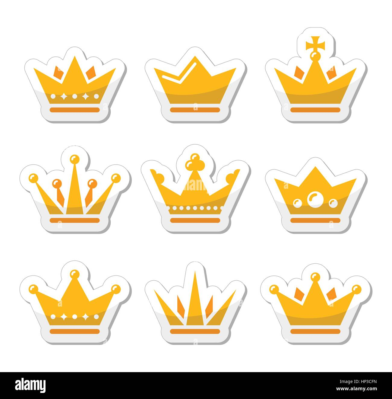 Crown Royal Family Gold Icons Set King Queen Crown Vector Icons