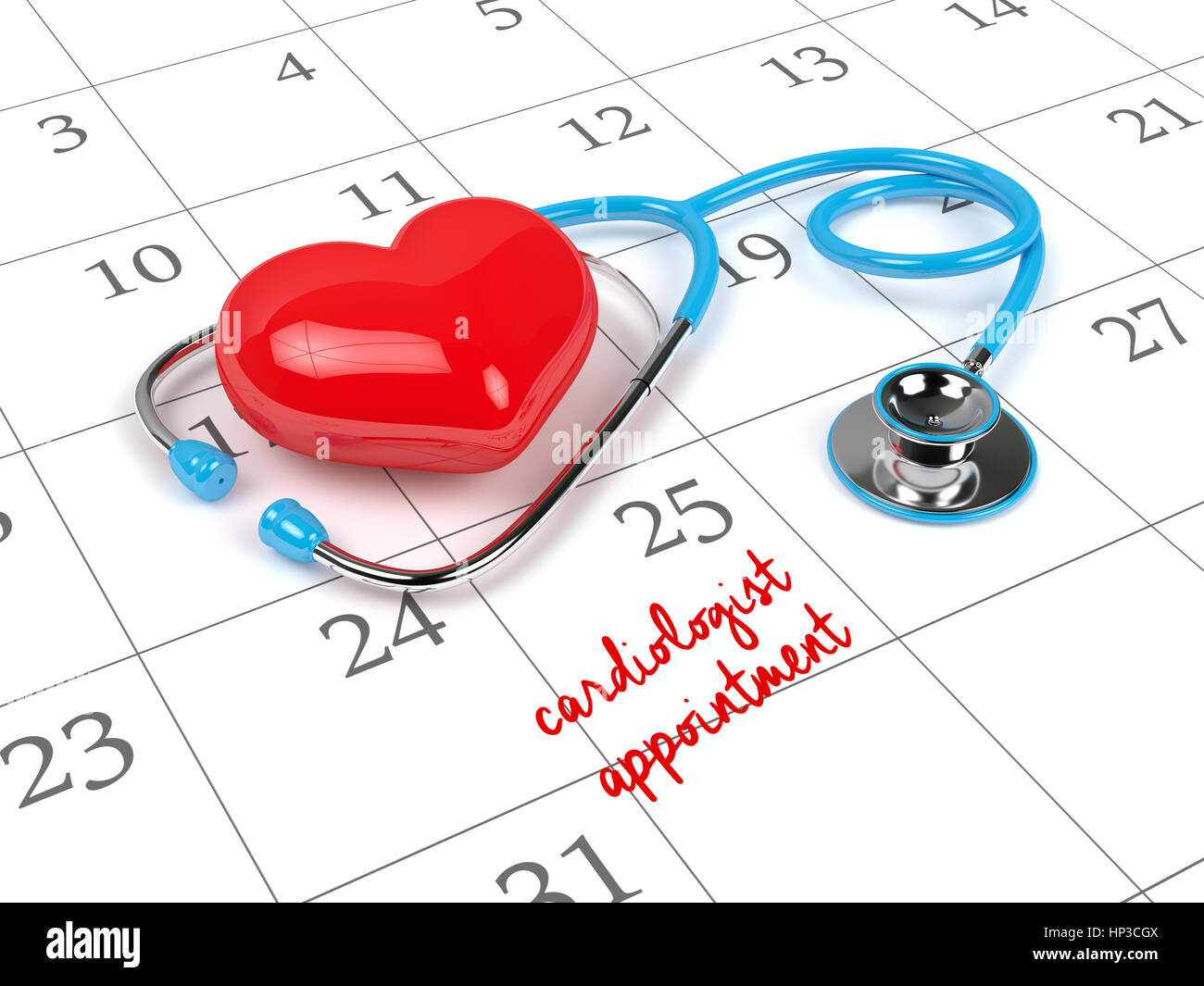 3d rendering of blue stethoscope, calendar and cardiologist appointment note. - Stock Image