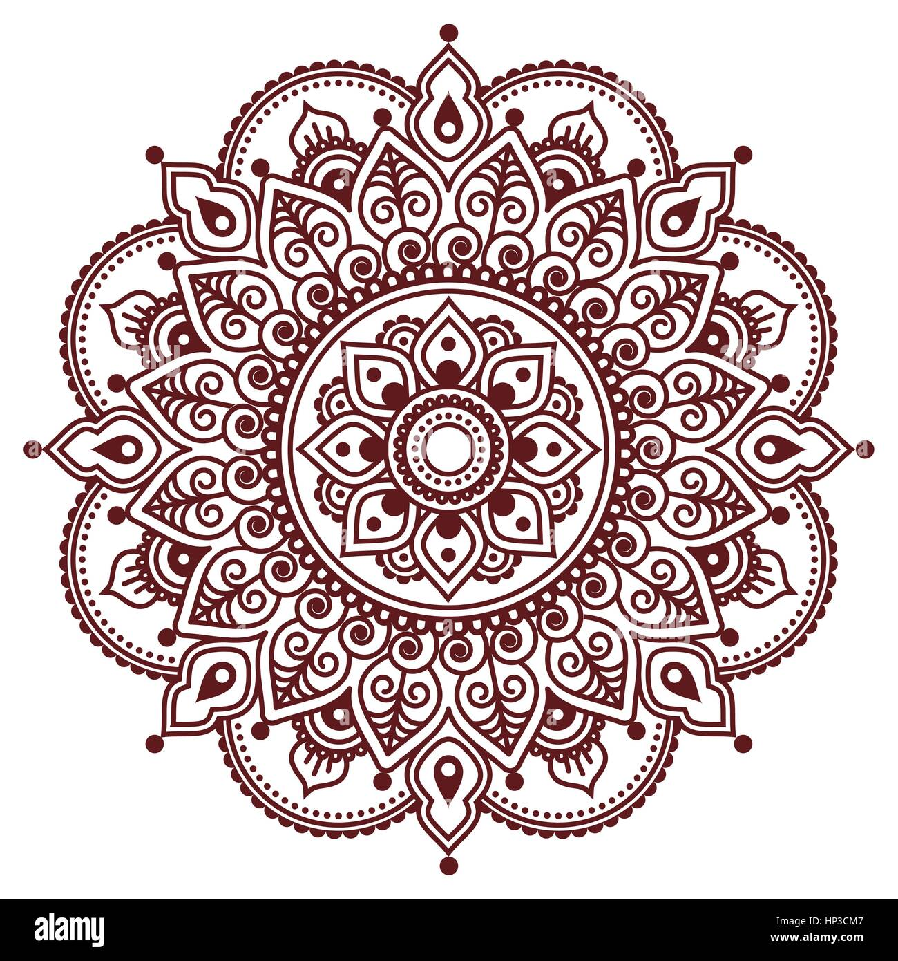 Mehndi Indian Henna Brown Tattoo Pattern Or Background Stock Vector