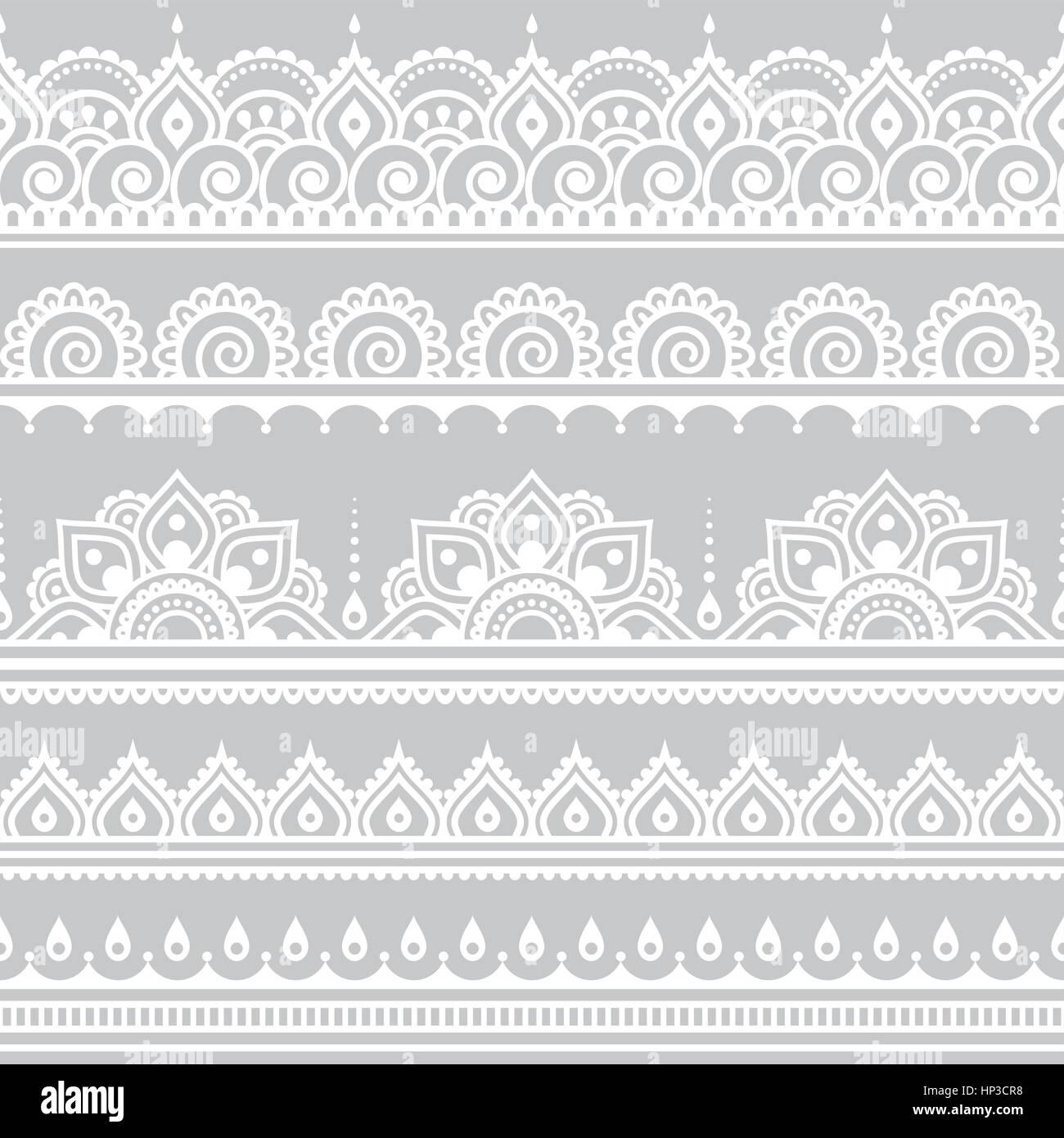 Mehndi Indian Henna Tattoo Seamless White Pattern On Grey